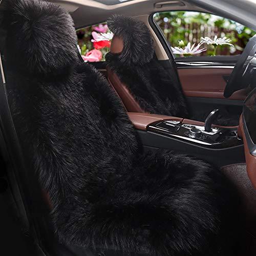 Plüsch Autositzbezug,Faux Lammfell Auto Sitzauflage,Winter Warme Sitzkissenbezug, Sitzbezug,Autositzkissen Abdeckung, 1 Stück (Schwarz)
