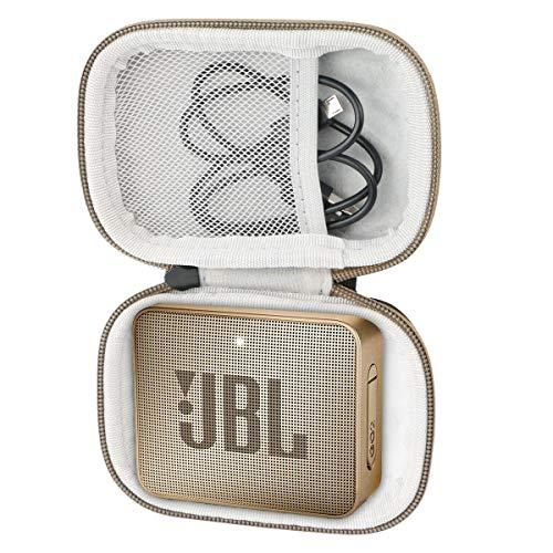 Khanka Tasche Case Schutzhülle Für JBL GO 2 GO2 kleine Musikbox portabler Bluetooth-Lautsprecher. (Champagner-Reißverschluss)
