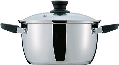 パール金属 クラッセ 3層底 ガラス蓋 付 両手鍋 22cm 内面ふっ素加工 IH対応 HB-3417