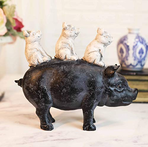 Ebros Piggyback Ride Rustic Farmhouse 3 Little Piglets Sitting On Swine Pig Mother Family Statue 8  Long Country Porcine Pigs Hogs Boars Animal Farm Vintage Antique Style Finish Collectible Figurine