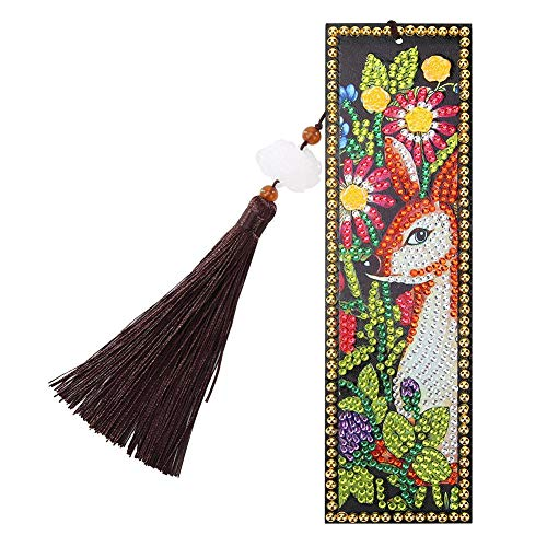 Alloyseed DIY Beaded Bookmarks, 5D Diamond Painting Bookmark DIY Beaded Bookmarks with Tassel and Diamond Painting Tool for Kids Adults Beginner Art Craft Supplies (Squirrel)