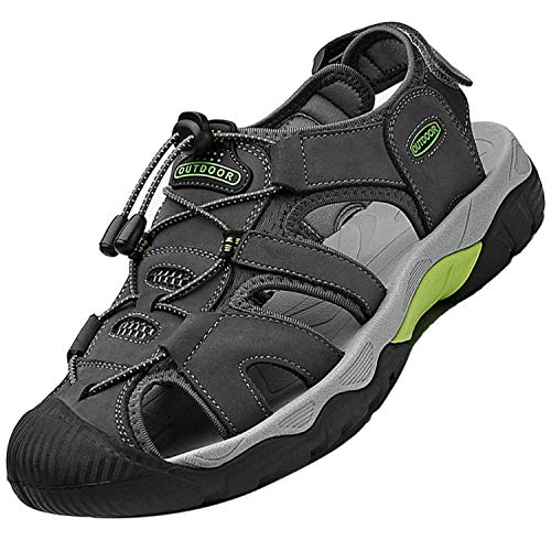 Topwolve Sandalias Deportivas para Hombre Verano Exterior Senderismo Zapatos Transpirable Peso Ligero Cuero Sandalias de Playa Trekking Casual Antideslizantes Zapatos de Montaña