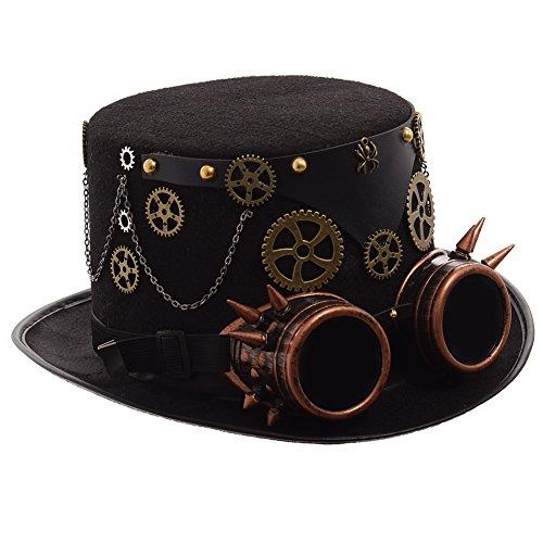 GRACEART Zauberkasten Steampunk Zylinder Hut Steampunk Herren and Steampunk Damen with Goggles, Gear Decoration