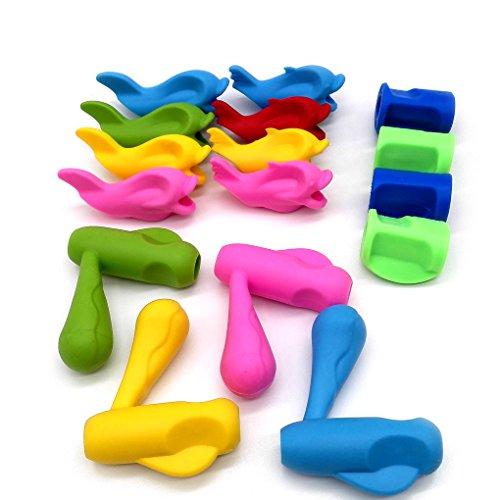 Zooshine 16Pcs Pencil Grips, Silicone Handwriting Posture Aid Correct Tools for Children Preschool,Handwriting Skill Improving Sets (Type 1)