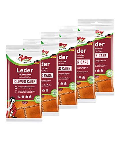 Poliboy - Leder Pflege Tücher - für alle Glattleder in allen Farben - Feuchttücher - 5er Pack - 5x20 Stück (100 Tücher) - Made in Germany