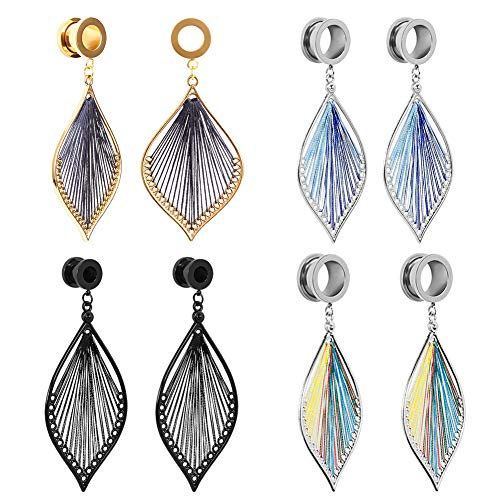 KUBOOZ Elegant Ear Gauges Leaves Dangle Tunnels Womens Piercing Plugs Earrings 4 Colors for Choose Size 2g(6mm) to 1 Inch(25mm)