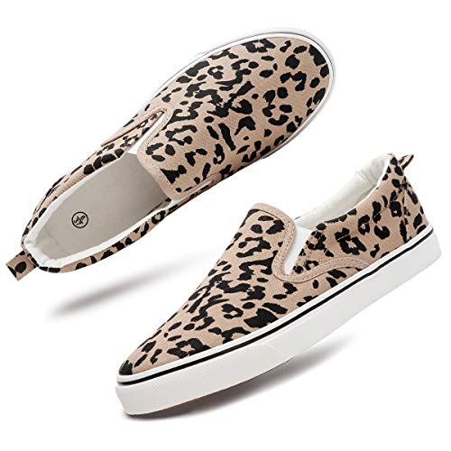 Women's Slip On Shoes Fashion Canvas Sneakers Loafers Casual Shoes (Leopard.8)