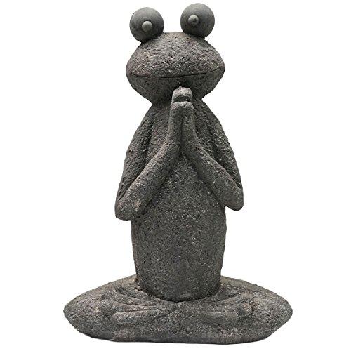 SVITA Yoga Frosch Garten-Figur Feng Shui Statue Meditation Reiki Outdoor Skulptur (60 cm, Lotus 1)