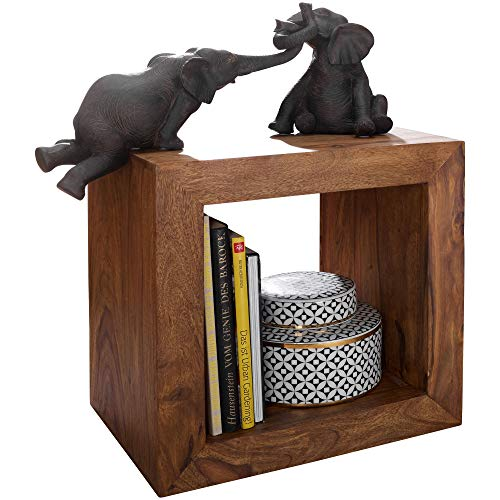 FineBuy Standregal Massivholz Sheesham 44 cm hoch Cube Regal Design Holzregal Natur-Produkt Beistelltisch Landhaus-Stil dunkel-braun Wohnzimmer-Möbel Unikat Echtholz Couchtisch viereckig Anstelltisch