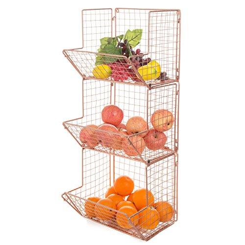 MyGift wandhängende Kupfer Draht Metall 3-Tier-Küche Obst Lagerplatz