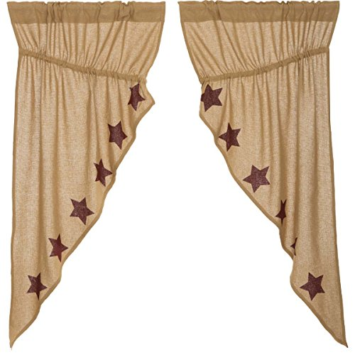 Pine Valley Quilts VHC Brands Burlap with Burgundy Stencil Stars Prairie Short Panel Set 63x36x18 Country Curtains, Tan