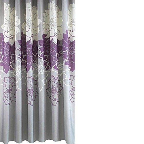 Sfoothome Polyester-Stoffvorhang für die Dusche, waschbarer Duschvorhang für Badezimmer mit Anti-Rost-Tüllen, Kunststoffvorhang mit Ringen & beschwertem Saum., Polyester Textil, violett, 180 x 180cm