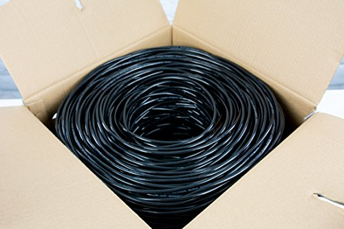 VIVO Black 1,000ft Bulk Cat5e, CCA Ethernet Cable, 24 AWG, UTP Pull Box, Cat-5e Wire, Waterproof, Outdoor, Direct Burial (CABLE-V003)