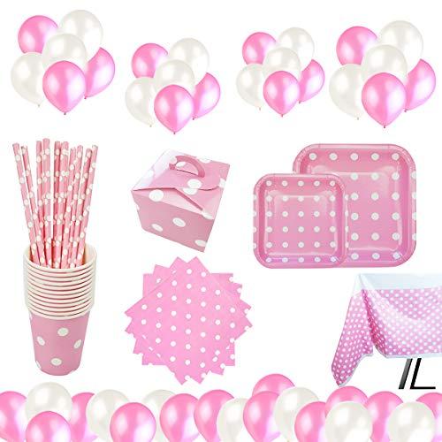 Set de Artículos Vajilla Desechables para Fiesta de Cumpleaños :Platos,Vasos,Servilletas,Mantel,Bolsas de Caramelos,Pajitas, Color Rosa a Lunares Para 16 Invitados