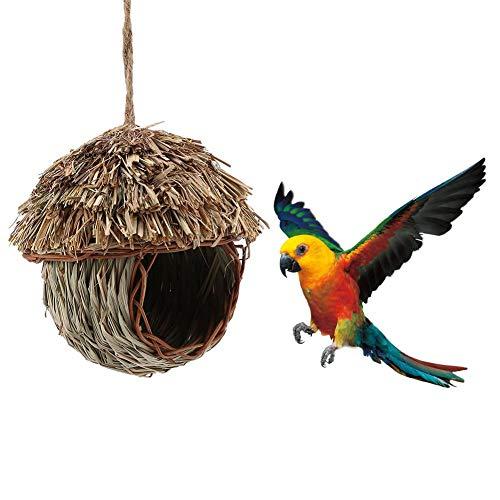 Pssopp Cage Paille tressée d'oiseaux Fait Main Nid d'oiseau Bird Nest Maison Perroquet Nest pour Faire éclore Grotte d'élevage pour Perruche Hamster Gerbille Chinchillas et Autres Petits Animaux
