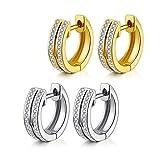 18K Gold Plated Cuff Earrings for Women, Double Rows Cubic Zirconia Stone Men's Huggie Hoop Earrings(2 pairs)