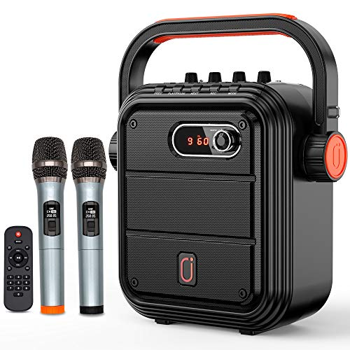 JYX Karaoke Machine Portable Microphone Speaker Set Bluetooth 5.0 Rechargeable PA System with FM Radio, Audio Recording, Remote Control Supports TF Card/USB