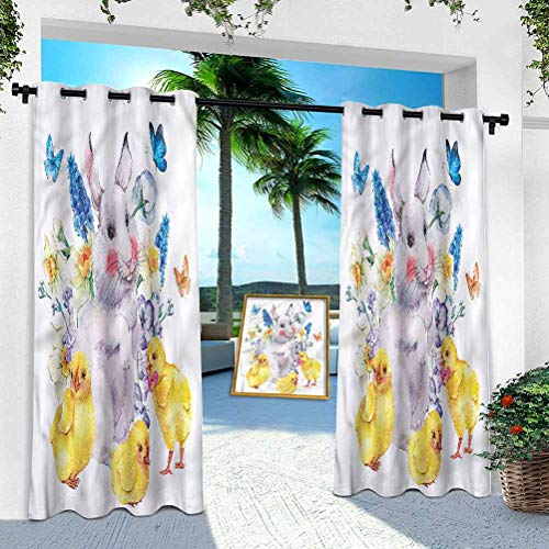 Aishare Store Pergola Curtain, Cartoon,Happy Bunny Vintage Easter, W 52' x L 84' Thermal Insulated Outdoor Patio Curtains for Light Block/Energy Saving(1 Panel)