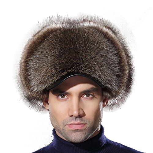 URSFUR Warme Unisex Echte Waschbär Fell Mütze Wintermütze Bomber Hats Trappermütze L-American Raccoon