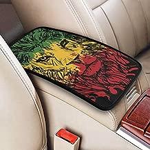 GREATN Lion Face Rasta Colors Car Armrest Cover Auto Center Console Pad Soft Comfort Anti Slip Arm Rest Cushion Pad Mat Universal Fit Handrail Box Decoration for Most Vehicle