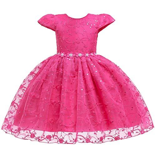 Zegeey Kleinkind MäDchen Lace äRmellose Kleid Party KostüM TüLl Cosplay Kleidung Festliche Geburtstag Geschenk TräGerkleid(Pink,80-90)