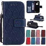 Laybomo Handyhülle für Nokia 3310 (2017) hülle Tasche Leder Beutel Weich Silikon Cover [Bilderrahmen] Stehen Magnetisch Schutzhülle Hülle Schale Tasche für Nokia 3310, Reben Streifen (Tiefes Blau)
