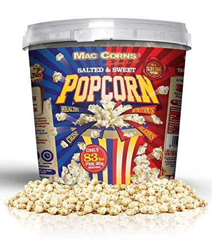 MacCorns Salted & Sweet Popcorn Mix ~ 500g ~ 10ltr Mega Bucket ~ Traditionally Popped, Free from Gluten, Nuts, Sesame, Dairy, GM & Allergens