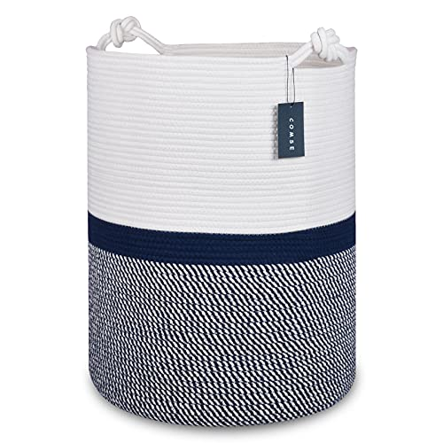 """COMSE Extra Large Blanket Basket, Tall Storage Basket, 15.7""""x 21.7"""", Tall Rope Laundry Basket, Cotton Rope Basket, XXXL Laundry Basket, Toy Basket, Woven Basket, Clothes Baskets, Blend White/Navy Blue"""