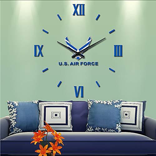 Makeyong Amerikaanse Airforce Diy Wall Art Sticker Grote Wandklok Usaf Militaire Home Decor Ornament Gewapende Krachten Grote Muur Horloge Luchtmacht Gifts37inch