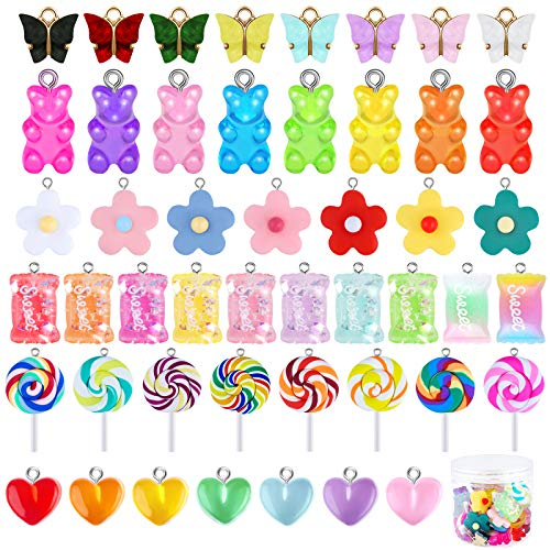URATOT 48 Pieces Sweet Candy Pendant Bear Charms Polymer Clay Candy Charm Butterfly Charms Heart-shaped Charm Flower Pendants with 1 Box for Key Chain Bracelet Necklace Earrings DIY Making