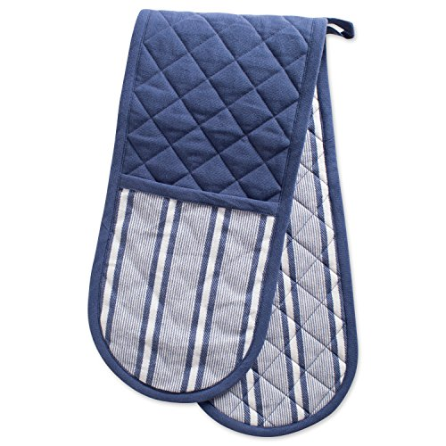 DII Cotton Stripe Quilted Double Oven Mitt, 35 x 7.5', Machine Washable and Heat Resistant Kitchen Moppine for Everyday Cooking and Baking-French Blue