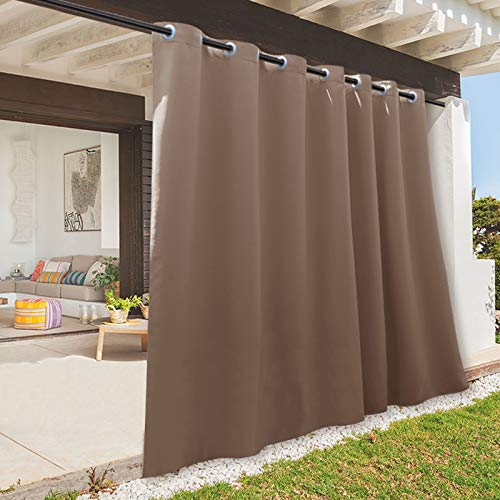 RYB HOME Outdoor Curtain - Sun Blocking Curtains Portable Contemporary Vertical Blind Room Darkening Shade for Garage Window / Patio Door / Pergola, 100 inches x 84 inches, 1 Panel, Mocha