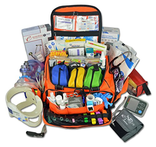 Lightning X Premium Stocked Modular EMS/EMT Trauma First Aid Responder Medical Bag + Kit - Fluorescent Orange