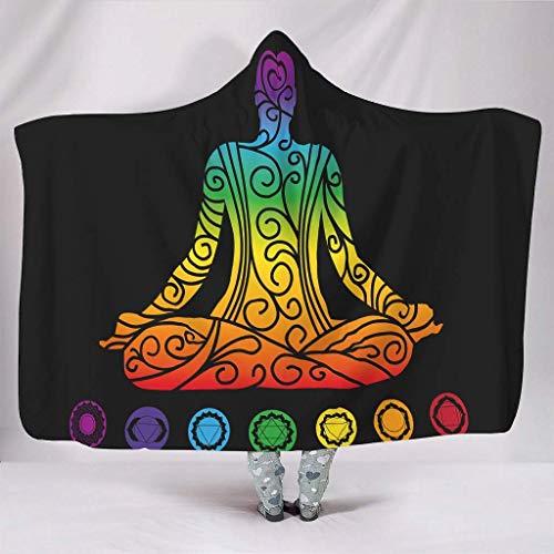 Mantas con capucha de la India Mandala Arco Iris Chakren Yoga Meditación Arte Impresión Caliente Invierno Sherpa Retro Sudadera con Capucha Camisa Dormitorio Blanco, 150 x 200 cm
