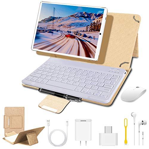 4G Tablets 10.1 Pulgadas, Tablet PC Android 9.0 4GB RAM + 64GB ROM, 8MP Cámara 8000mAh Batería Cuatro nucleos Moviles Buenos o Tablets Puede Llamar Apoyo Dual SIM WiFi/OTG (Oro)