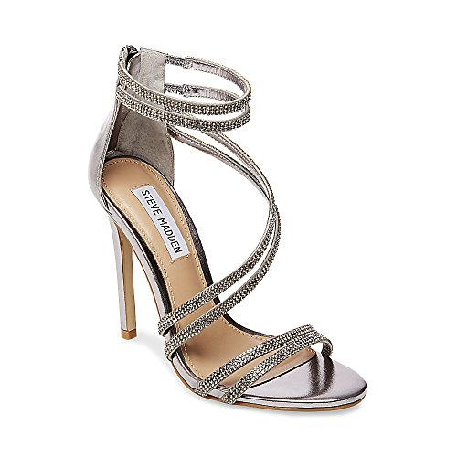 Steve Madden Womens Sweetest Metallic Dress Sandals Silver 9 Medium (B,M)