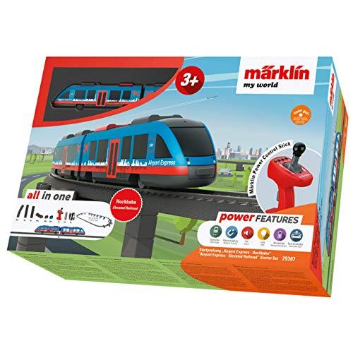 Märklin 29307 My World ‐ Startpackung Airport Express, Modelleisenbahn für Kinder ab 3 Jahre, Licht-und Soundeffekte, mit Bausteinen, akkubetrieben, Spur H0