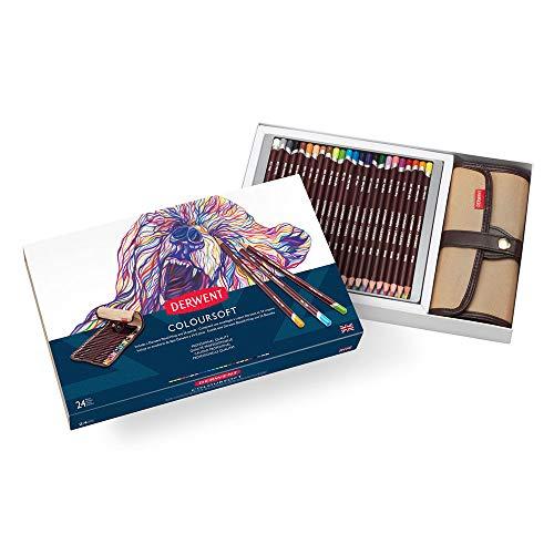Derwent Coloursoft Wrap Set mit 24 bunten, mischbaren Buntstiften, Leinentasche zur Aufbewahrung der Stifte