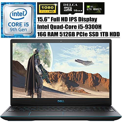 Dell G3 15 3590 2020 Premium Gaming Laptop I 15.6' FHD IPS I Intel Quad-Core i5-9300H (i7-7700HQ) I 16GB DDR4 512GB PCIe SSD 1TB HDD I 6GB 1660Ti Max-Q Backlit Win 10 + Delca 16GB Micro SD Card