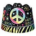 Amscan Groovy Neon Birthday Party Doodle Paper Tiaras Wearable Favor Supply