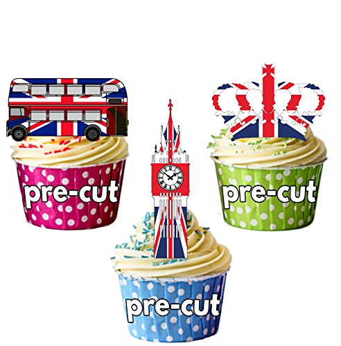 PRE-Cut Union Jack London Party Pack - Royal Wedding - Edible Cupcake Toppers/Cake Decoraties (Pak van 36)