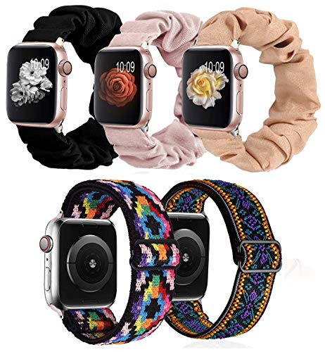 Paquete de 5 bandas de nailon para reloj de Apple de 40 mm, 38 mm, bandas elásticas de impresión G.P, para mujer, correas ajustables, correa elástica compatible con iWatch Series 6, 5, 4, 3, SE 7 8