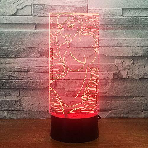 Badpak meisjes 3D nachtlampje LED illusie lamp met 7 kleuren wijzigen en afstandsbediening - verjaardags- en kerstcadeaus voor kinderen bedlampje slaapkamerdecoratie