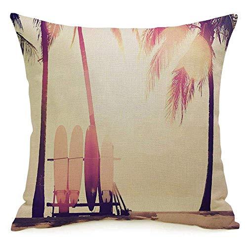 Funda de almohada cuadrada de lino decorativa Funda de almohada Relax Sun Tabla de surf junto al mar Palmera Hawaii en la playa Agua abstracta Doble naturaleza Viajes Color Funda de almohada Cojín Fun