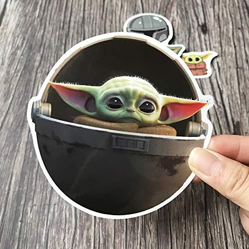 BLOUR Star Wars Baby Yoda The Mandalorian Adesivi Impermeabili in PVC per Laptop Adesivi per Scooter per Auto con Decorazioni per la casa di Skateboard