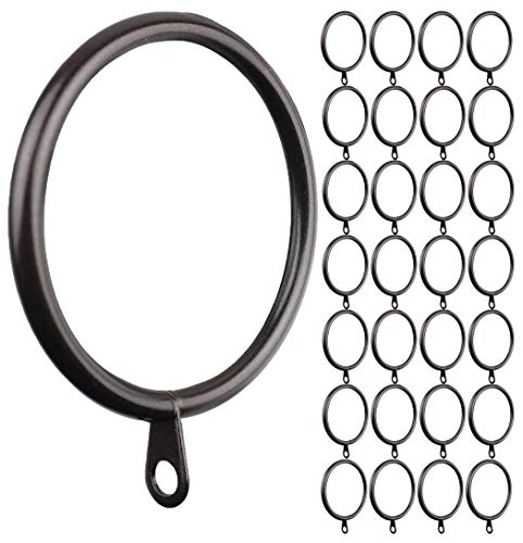 MERIVILLE 28 pcs Oil-Rubbed Bronze 1.5-Inch Inner Diameter Metal Curtain Rings with Eyelets, Fits Up to 1 1/4-Inch Rod