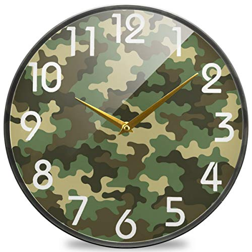 Naanle Simple Fashion Green Camouflage Pattern Round Wall Clock, 9.5 Inch Silent Battery Operated Quartz Analog Quiet Desk Clock for Home,Office,School