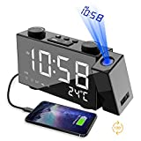 Projection Alarm Clock for Bedrooms & Travel - Dual Alarm Ceiling Clock