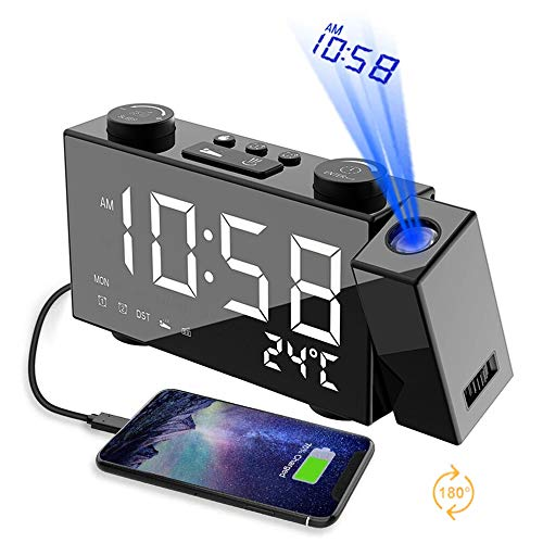 Projection Alarm Clock for Bedrooms & Travel - Dual Alarm...