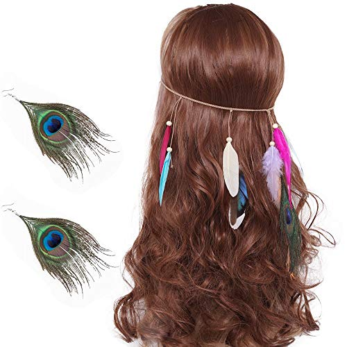 LONGBLE Indianen hoofdsieraad veer hoofdband + 2 oorbellen dames boho haaraccessoires met handgeweven kwasten pauwenveer houten parel instelbaar haarband hoofdtooi veersieraad